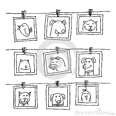 Set picture frames with animals portrait, hand drawn vector illustration Vector Illustration