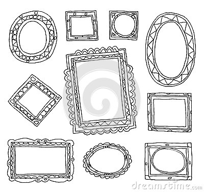 Set picture frames, hand drawn vector illustration. Vector Illustration