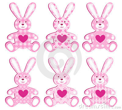 Set of pink applique hare.