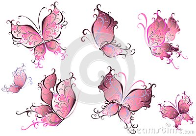 Set of pink butterflies isolated on a white