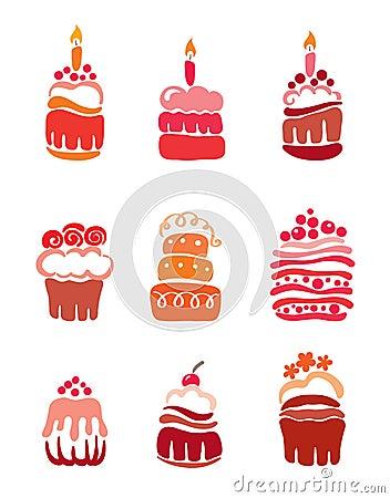 Set pink cakes