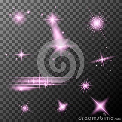Set of pink lens flares. Pink sparkles shine special light effect. Vector Illustration