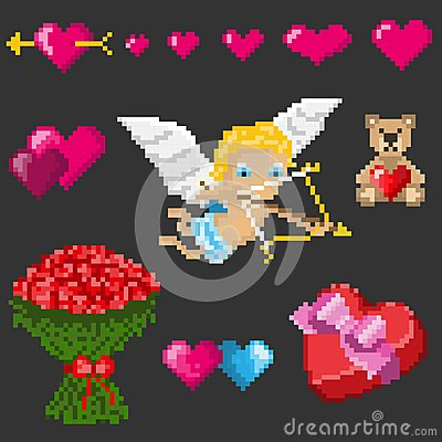 A set of pixel elements for Valentine`s Day Vector Illustration