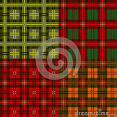 Set plaid patterns, tartan, vector