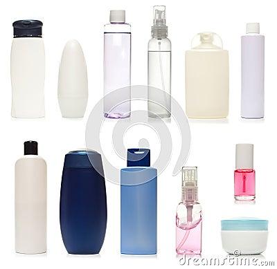 Set of plastic bottles