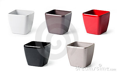 Set of plastic flowerpots for indoor plants