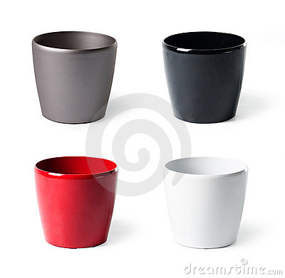Set of plastic flowerpots for indoor plants
