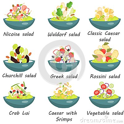 Set of plates with various world cuisine salads color flat icons Stock Photo