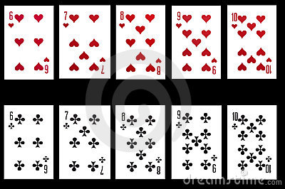 Set of playing card isolated on black background