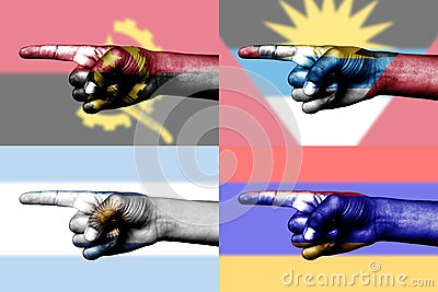 Set of pointing finger in national flag