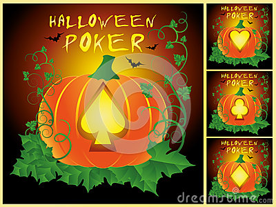 Set Poker Halloween cards