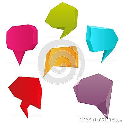 Set of polygon speech bubbles