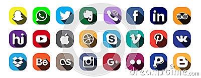Moscow, Russia - June 20, 2017: Set of popular social media logos: Instagram, Facebook, Twitter, Youtube, WhatsApp, LinkedIn, Pint Editorial Stock Photo
