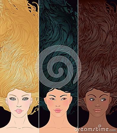 Set of portraits multi ehtnic woman