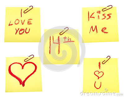 Set of post-it with valentines theme