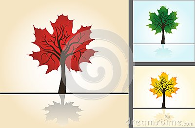 Set postcards, stylized maple