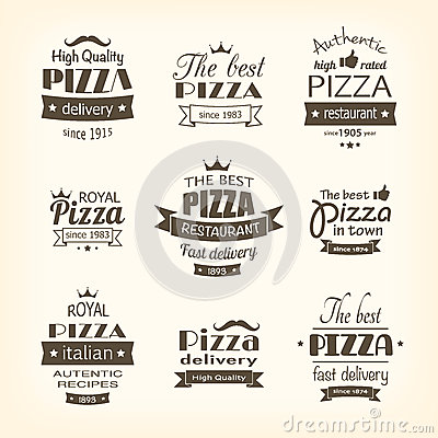 Set of premium quality pizza labels