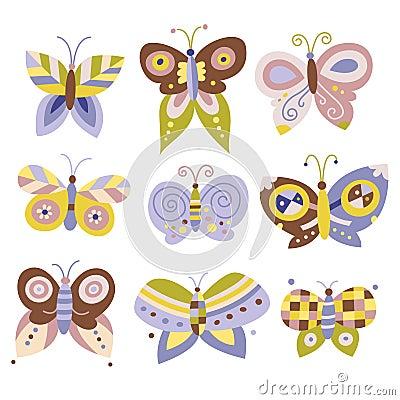 Set of pretty butterflies