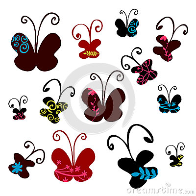 Set of pretty butterflies