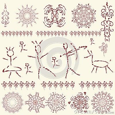 The set of primitive art design elements