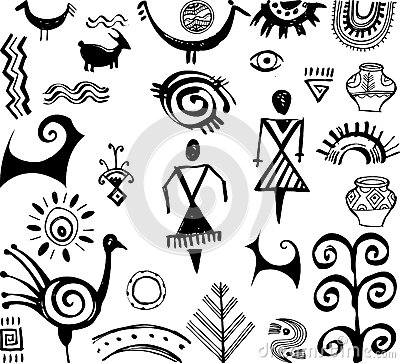Set of primitive drawings