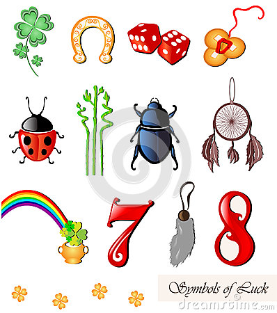 Set of 12 luck symbols