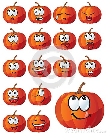 Set of pumpkin emotions