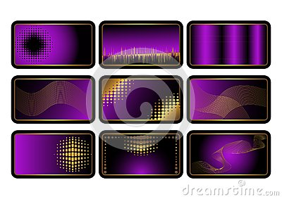 Set of purple credit cards. Vector.