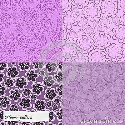 Set of purple floral patterns