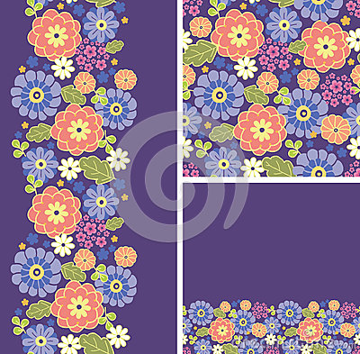 Set of purple flowers seamless pattern and borders