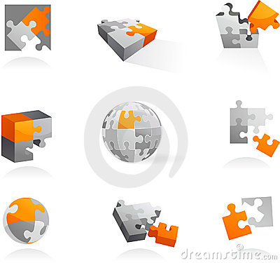 Set of puzzle icons and logos