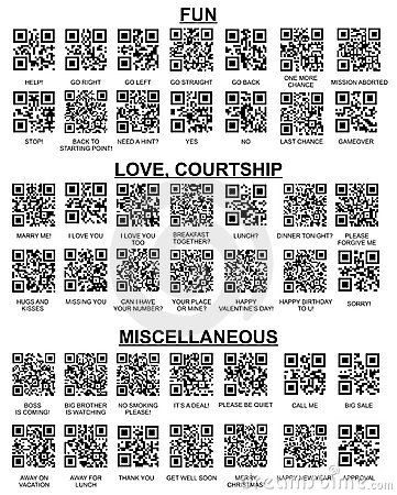 Set of QR Codes For Your SmartPhone Barcode Reader