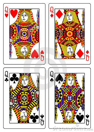 Set of queens playing cards 62x90 mm