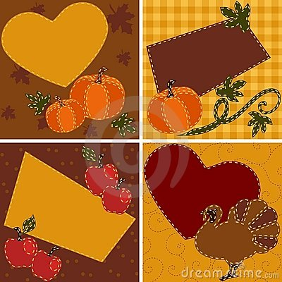 Set of quilted Thanksgiving cards
