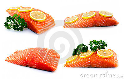 Set of raw salmon fillet