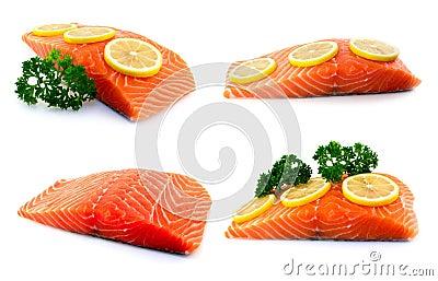 Set of raw salmon fillet