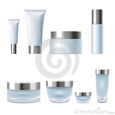 Free Set Realistic 3d Cosmetic Package Cream Jar Tubes. Light Blue Silver Metallic Containers Glass Plastic Isolated Royalty Free Stock Photo - 101869395