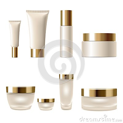 Free Set Realistic 3d Cosmetic Package Cream Jar Tubes. Light Yellow Beige Gold Metallic Containers Glass Plastic Isolated Stock Images - 101870574
