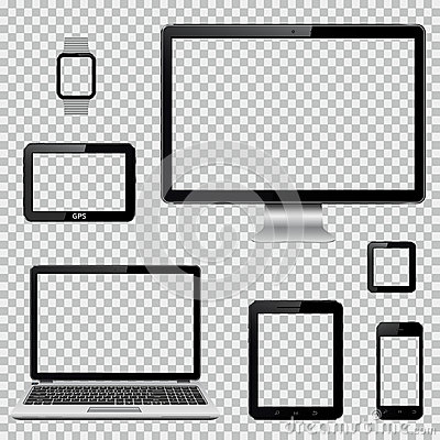 Set of realistic computer monitor, laptop, tablet, mobile phone, smart watch and GPS navigation system device with Vector Illustration