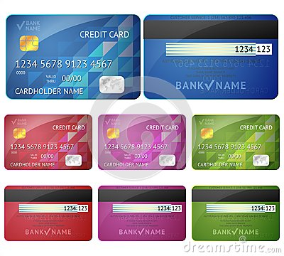 Set of realistic credit card two sides isolated on