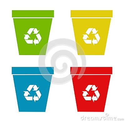 Set of recycling bins Vector Illustration