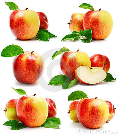 Set red apple fruits with cut and green leaves