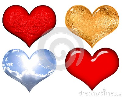 Set of red,gold,silver and glass valentine hearts