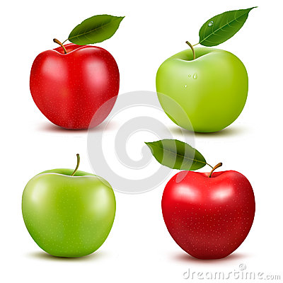 Set of red and green apple fruits with cut and gre