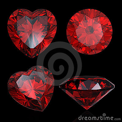 Set of red heart shaped ruby and garnet