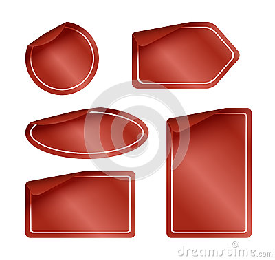 Set of Red Labels with Rounded Corners