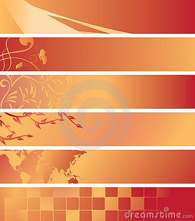 Set - red and orange banners - vector