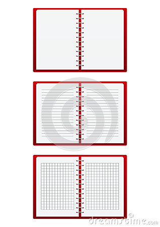 Set of red paper notebooks