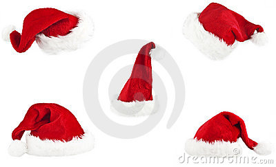 Set of red santa claus hat