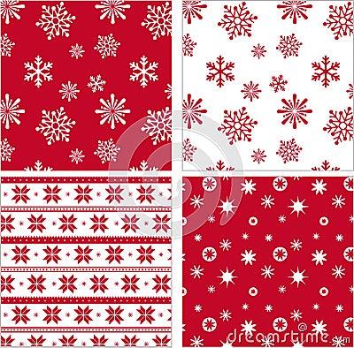 Set of red seamless snowflake pattern